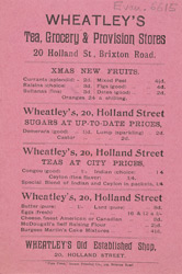 Advert for Wheatley's tea, grocery & provision stores